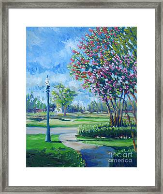 Path With Flowering Trees Framed Print by Vanessa Hadady BFA MA