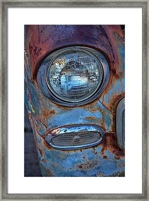 Patinaed Headlight Framed Print by Peter Tellone