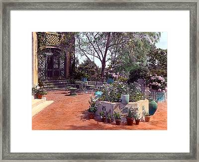 Patio And Flower Pots Framed Print by Terry Reynoldson