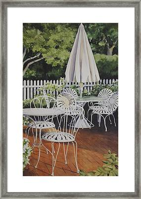 Patio Patterns Framed Print by Sue Stephan Foster