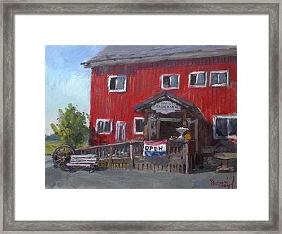 Patricia's Back Barn Framed Print by Ylli Haruni