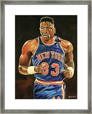 Patrick Ewing New York Knicks Framed Print by Michael  Pattison