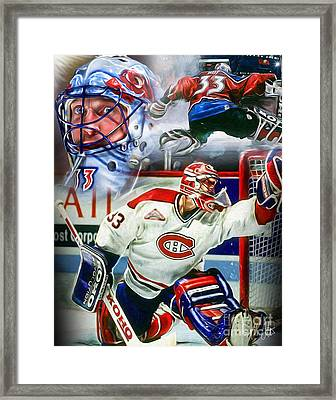 Patrick Roy Collage Framed Print by Mike Oulton