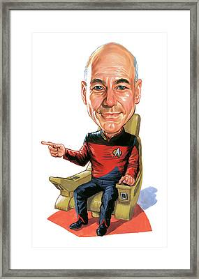 Patrick Stewart As Jean-luc Picard Framed Print by Art