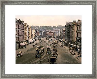 Patrick Street In Cork Ireland - 1900 Framed Print by Mountain Dreams