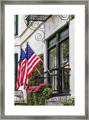 Patriotic Balcony Savannah Georgia Framed Print by Dawna  Moore Photography