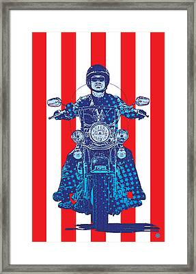 Patriotic Cycle Rider Framed Print by Gary Grayson