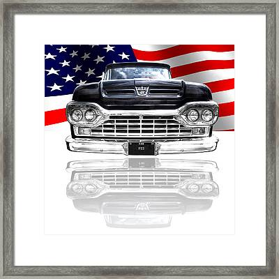 Patriotic Ford F100 1960 Framed Print by Gill Billington