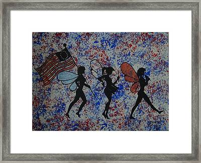 Patriotic Pixie Fairy Framed Print by Tim Casner