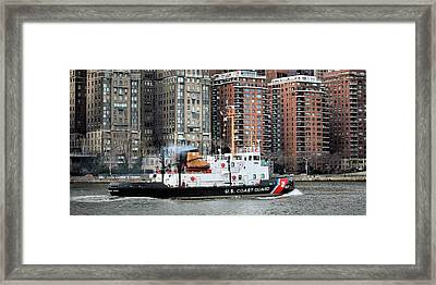 Patrolling The East River Framed Print by JC Findley
