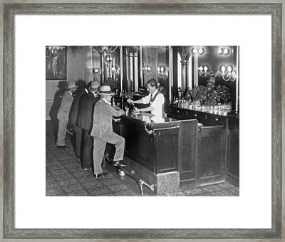 Patrons At A Speakeasy In Sf Framed Print by Underwood Archives