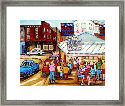 Pat's King Of Steaks Philadelphia Restaurant South Philly Italian Market Scenes Carole Spandau Framed Print by Carole Spandau