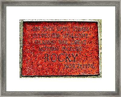 Pats Steaks - Rocky Plaque Framed Print by Benjamin Yeager