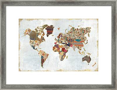 Pattern World Map Framed Print by Laura Marshall