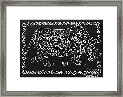 Patterned Rhino Framed Print by Caroline Street