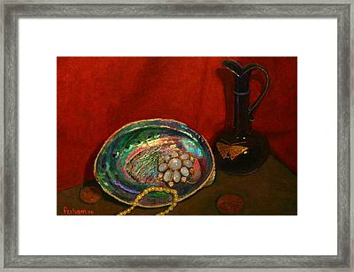 Paua And Butterfly Vase Framed Print by Terry Perham