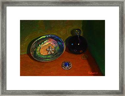 Paua With Scent Bottle. Framed Print by Terry Perham