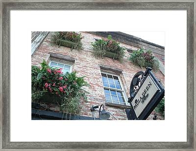 Paula Deen Savannah Restaurant Flower Boxes Framed Print by Kathy Fornal