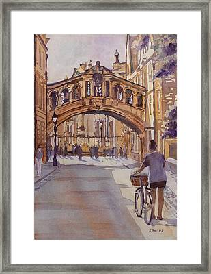 Pausing Before The Bridge Framed Print by Jenny Armitage