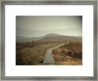 Paved Footpath Near Shining Tor, Climbing Towards Cats Tor Framed Print by Litz Collection