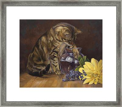 Paw In The Vase Framed Print by Lucie Bilodeau
