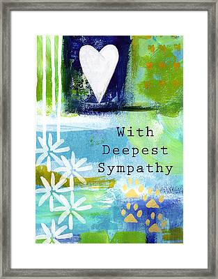 Paw Prints And Heart Sympathy Card Framed Print by Linda Woods