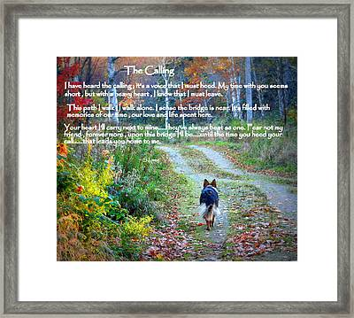 Paw Prints The Calling Framed Print by Sue Long