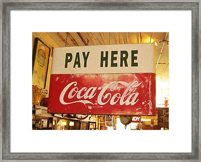 Pay Here Coca Cola Sign Jefferson Texas Framed Print by Donna Wilson