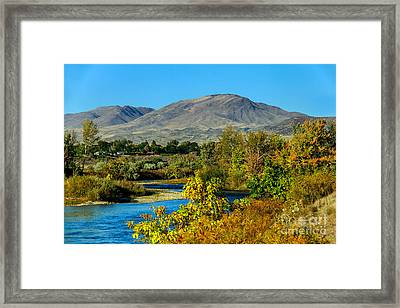 Payette River And Squaw Butte Framed Print by Robert Bales
