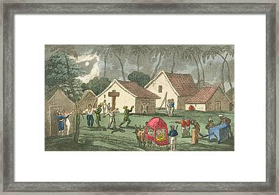 Pays A Nocturnal Visit To Dungaree Framed Print by Thomas Rowlandson