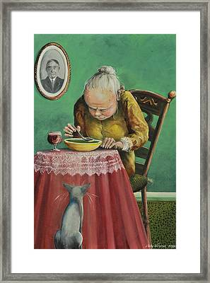Pea Soup And Cabernet Framed Print by Shelly Wilkerson