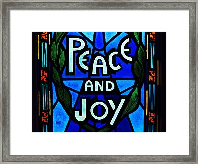 Peace And Joy Framed Print by Zinvolle Art