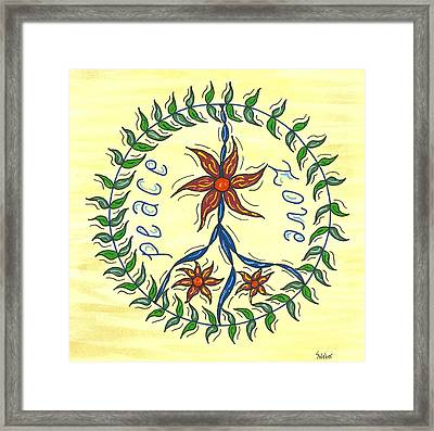 Peace And Love Framed Print by Susie WEBER