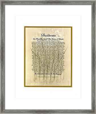 Peace Lilly Desiderata Poem Framed Print by Desiderata Gallery