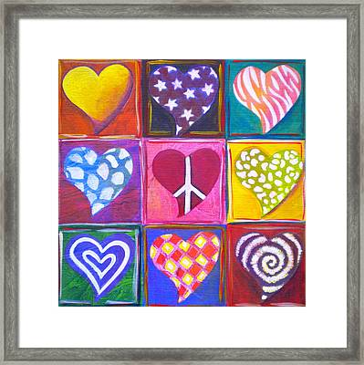 Peace Love And Heart Art Framed Print by Debi Starr