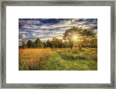 Peace On The Prairie - Fall Sunset At Retzer Nature Center In Waukesha Wisconsin Framed Print by The  Vault - Jennifer Rondinelli Reilly