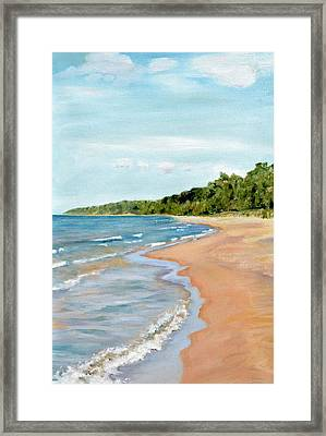 Peaceful Beach At Pier Cove Framed Print by Michelle Calkins