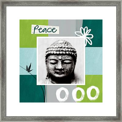 Peaceful Buddha- Zen Art Framed Print by Linda Woods