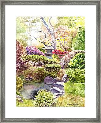 Peaceful Garden Framed Print by Irina Sztukowski