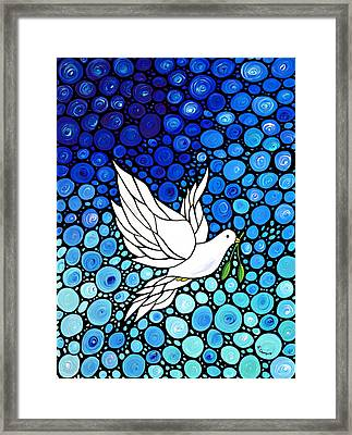 Peaceful Journey - White Dove Peace Art Framed Print by Sharon Cummings