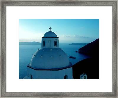Peacefull Santorini Greek Island  Framed Print by Colette V Hera  Guggenheim