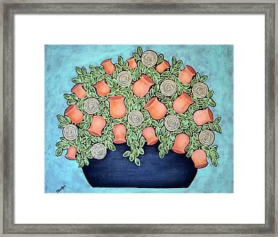 Peach Blossoms And Licorice Swirls Framed Print by Stewalynn Art