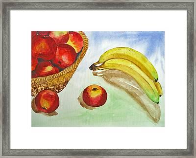 Peaches And Bananas Framed Print by Shakhenabat Kasana
