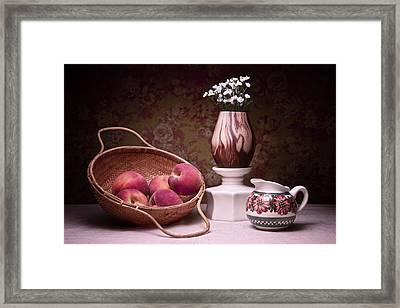 Peaches And Cream Sill Life Framed Print by Tom Mc Nemar