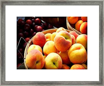 Peaches And Plums Farmers Market Framed Print by Julie Palencia