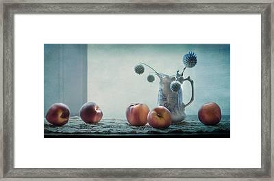 Peaches Still Life Framed Print by Maggie Terlecki