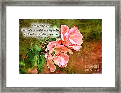 Peachy Keen With Verse  Framed Print by Debbie Portwood