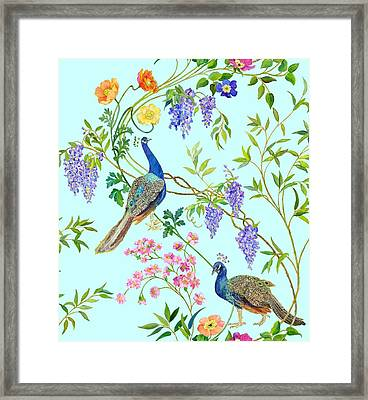 Peacock Chinoiserie Surface Fabric Design Framed Print by Kimberly McSparran