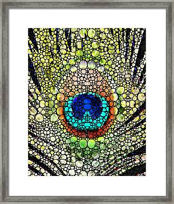 Peacock Feather - Stone Rock'd Art By Sharon Cummings Framed Print by Sharon Cummings