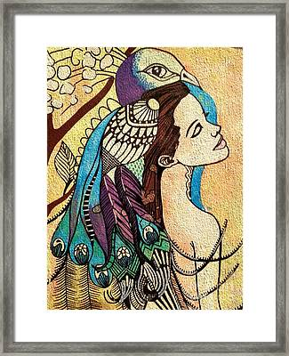 Peacock Woman Framed Print by Amy Sorrell